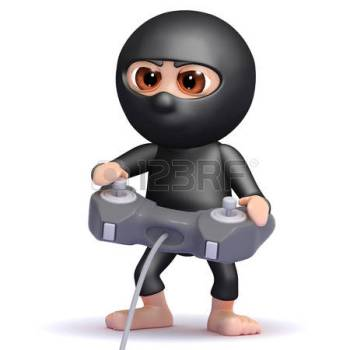 Featured Image Of A Cartoon Ninja Playing Computer Games.