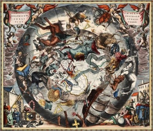 Featured Image Of An Elaborate Zodiac Overlaying A Globe Being Viewed By Ancient Scientists And Explorers.