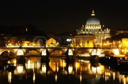 vatican city: view of panorama night Vatican City in Rome, Italy Stock Photo photocredit/thanks:helloitalytours