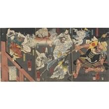 Utagawa Kuniyoshi: Ushiwaka (Yoshitsune) and Goblins (Tengu) Attack Benkei on Gojö Bridge - photocredit/thanks:Honolulu Museum of Art