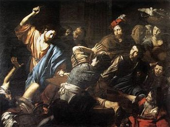 VALENTIN de BOULOGNE's... (1591-1632) THE CHRIST DRIVING THE MONEY CHANGERS OUT OF THE TEMPLE... SHIRO LOVES TO DRIVE... AND YOU.?. WANNA TAKE THE WHEEL.?. CLICK HERE FOR MORE SUCH ART FORMS INDEED.