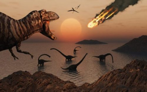 Image Fantasy Sci-Fi Scene Of Asteroid And Dinosaurs.