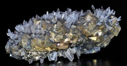 CHALCOPYRITE, PYRITE AND CALCITE WHITE ROCK CRYSTAL COMBO.