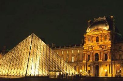 Glass pyramid at night at the entrance to the Louvre in Paris,France. photocredit/thanks:123coolpictures
