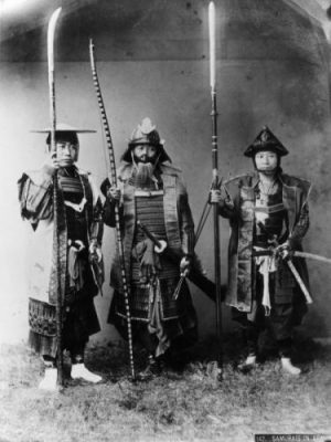 circa 1880: A group of Japanese Samurai warriors. CLICK A TRIO FOR A TRIO... OF LEGENDS INDEED. (Photo by Kusakabe Kimbei/Hulton Archive/Getty Images)
