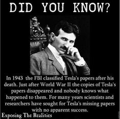ROUTINE IT SEEMS...FOR ELITES TRYING TO PROFIT OVER PEOPLE... THE MISSING TESLA FILES...FILED AWAY...SOMEWHERE. photocredit/thanks:pinterest