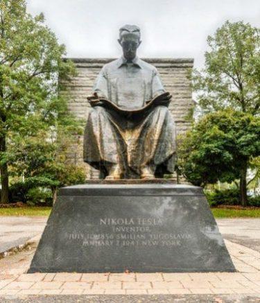 Tesla Monument at Goat Island, Niagara Falls, New York. Gift of Yugoslavia to the United States, 1976. Nikola Tesla designed the first hydro-electric power plant in Niagara Falls. NIKOLA TESLA 1856-1943...rip