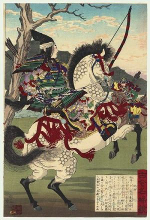 A LEGENDARY FEMALE SAMURAI ARCHER... GREEN SUITED TOO,.. AND HORSE... THAT IS... WHITE...ish. photocredit/thanks:pinterest