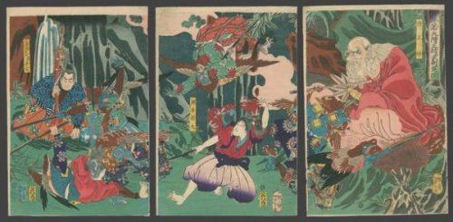 "<em><strong>USHIWAKA MARU STUDYING MARTIAL ARTS WITH <span style=""color: #008000;"">TENGU</span> KING SOJOBO.</strong></em> Tsukioka Yoshitoshi: Ushiwaka Maru (Yoshitsune) learns the martial arts from Sojobo, king of the Tengu – The Art of Japan- photocredit/thanks:Honolulu Museum of Art"