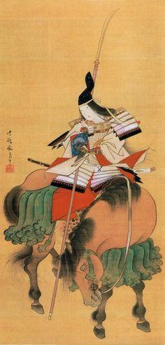 FEMALE WARRIOR OF THE WAYS WITH NAGINATA... Japanese Painting of TOMOE GOZEN by Shitomi Kangetsu. Image on SILK; EDO era, Courtesy/Thanks TOKYO NATIONAL MUSEUM.