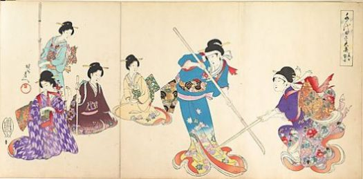 Ladies in Waiting of the Chiyoda Castle: Sword Practice and Puppet Kyôgen Toyohara Chikanobu (Japanese, 1838–1912) Period: Meiji period (1868–1912) Date: 1895 Culture: Japan Medium: Triptych from an album of polychrome woodblock prints; ink and color on paper.