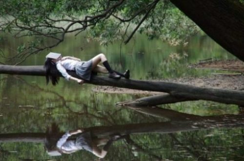 Image Of A Girl Lying On A Large Branch Over Waters With A Book Over Her Face.