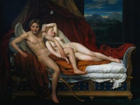 PAINTING BY NEOCLASSIST JACQUES LOUIS DAVID (1748-1825)... CUPID + DIAMOND ARROW HEAD VICTIM... WHOSE NAME APPEARS TO BE... PSYCHE... NO, REALLY... IT'S PYSCHE,.. HER NAME THAT IS...OF 1817. Shiro SAYETH CUPID HAS... SHOT HIS BOLT INDEED IT SEEMS ALREADY.!. AND... HE IS SMILING... MUST HAVE BEEN ON TARGET TOO... LUCKY PSYCHE IS LYING DOWN ALREADY... SHE COULD HAVE BEEN HIT IN THAT TENDER SPOT... THAT IS... HER ACHILLES HEEL OF COURSE. GO GREEK LEGENDS INDEED.