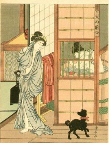 BATH TIME... OLDEN JAPAN STYLE IT SEEMS... BATH IS A ROUND BARREL SHAPED GOEMONBURO. DOG's NAME IS... woteva pleaseth thee. THE BATH- A PRINT BY KIYONAGA. Torii Kiyonaga (Japanese: 鳥居 清長; 1752 - June 28, 1815) photocredit/thanks:onsenjapan