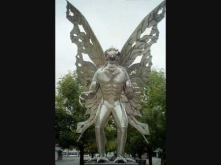 THE MOTHMAN... STATUE. LEGEND. MOTHMAN SIGHTINGS STILL PERSIST IN PLACES SUCH AS THE USA...CLICK A WING TO VIEW... A LEGEND IT SEEMS INDEED.?. photocredit/thanks:youtube