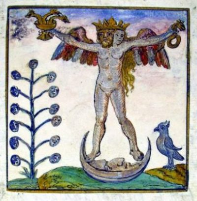 ALCHEMY's,.. TREE OF LIFE/KNOWLEDGE, MANY HEADED WINGED BEING, BIRDS, SERPENTS,.. ALL WITH THE MAN/WOMAN ON THE MOON INDEED... in deed and in fact... too. FRICK AND CLICK... BETTER NOT... FALL...photocredit/thanks:incolors