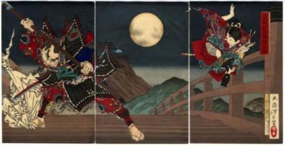 MOONLIT NIGHT,.. GOJO BRIDGE. BENKEI FANNED AWAY INDEED. YOSHITSUNE STYLE. LEGEND. BOTH. JOIN Shiro... too. MEASURING THE MOON WITH LEGENDARY NUMBERS OF SCIENCE, ALCHEMY + LEGEND... a Calculator... also. photocredit/thanks:japanesefinearts