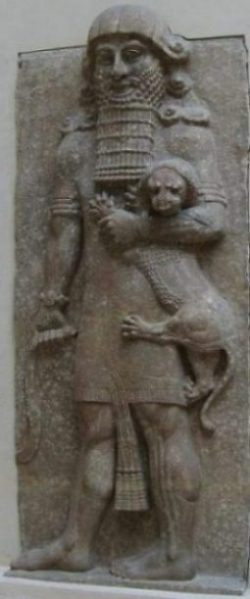 Image Of A Statue Of Gilgamesh Of Yore Sumer.