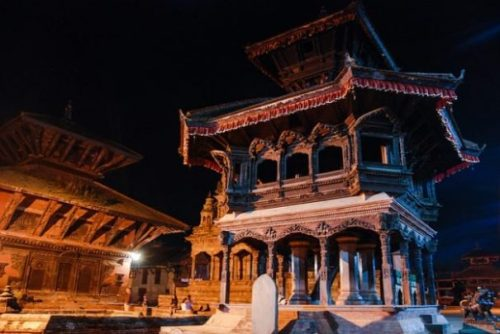 A NEPAL NIGHT TEMPLE VIEW.