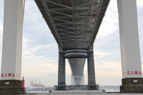 ...EVEN CLOSER... THE BRIDGE. THE BAY. YOKOHAMA.