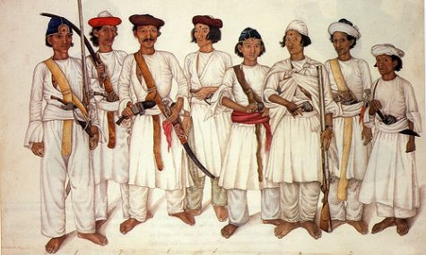 Eight Gurkha men depicted in a British Indian painting. During the 18th and 19th centuries, the British employed Indian artists to illustrate the manners and customs of India and to record scenes of monuments, deities, festivals, and occupations. This is one such 'Company' painting commissioned by William Fraser in 1815 whilst he was Deputy Resident of Delhi. photocredit/thanks:flickr/daviddb