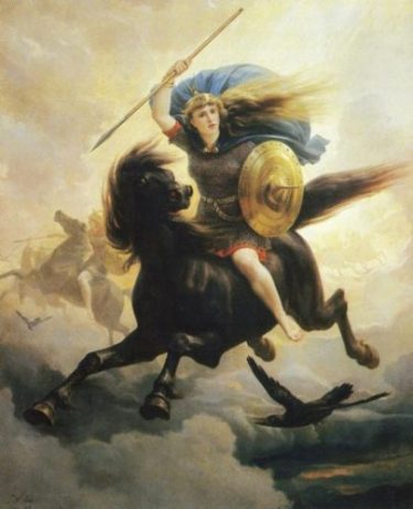 ONE OF THE ANGELIC VALKYRIEN OF WAR... Long-Haired Feminine yet Warrior,.. Horse, Spear, Shield... CROW...too. Compadre of ODIN... also. photocredit/thanks:pnarbo/wikimedia