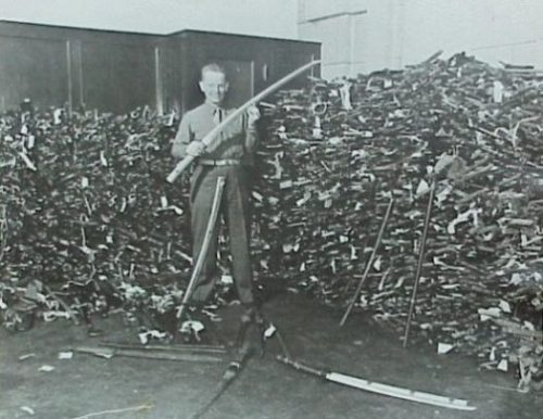 Image Of A Roomful Of Samurai Swords Confiscated By American Forces After WW2.
