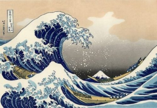The Great Wave Off Kanagawa. Japanese ukiyo-e artist Hokusai. A Woodblock Print.