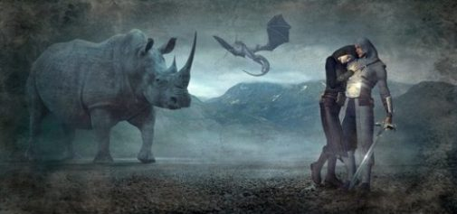 Featured Theme Image Rhino/Unicorn, Flying Dragon, Damsel And Sworded Knight With A Misty Background.