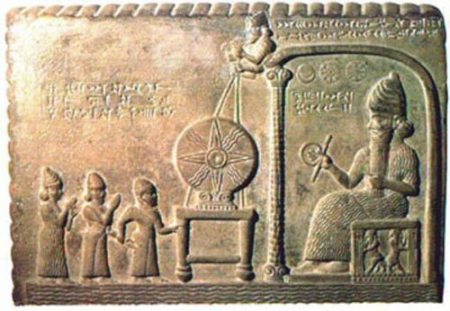Image Of A Sumer Giant God-King Enthroned Meeting Three Smaller Men.