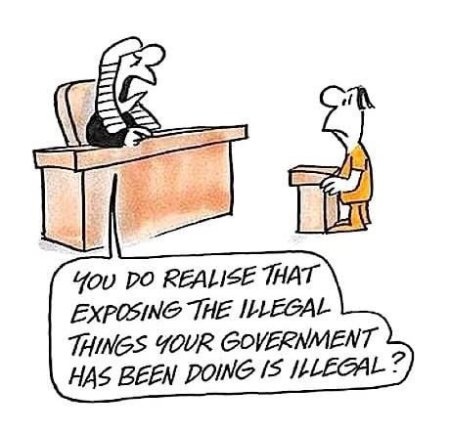 Featured Topic Image Cartoon Of Judge Advising/Asking The Accused-You Do Realise That Exposing The Illegal Things Your Government Has Been Doing Is Illegal.?.