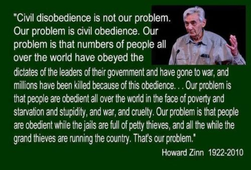 Image Of A Howard Zinn Quote On Governance Irresponsibility.