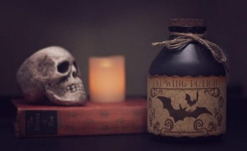 Featured Image Of A Skull, Candle, Book And Jar/Pot Of Poison.