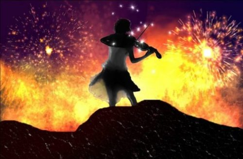 Image Of A Fantasy Themed Young Woman Musician With Violin Backgrounded By A Fiery Volcano.