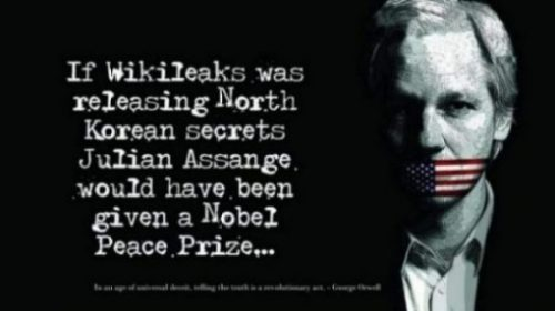 Featured Topic Image Julian Assange Whose Mouth Is Sealed By The American Flag. The Statement-If Wikileaks Was Releasing North Korean Secrets Julian Assange Would Have Been Given A Nobel Peace Prize...