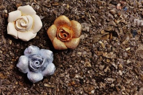 Featured Image Of 3 Different Colored Rosebuds On Soily/Rocky Ground.