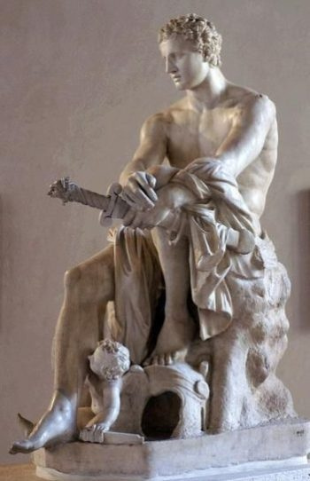 Image Of A Statue Of The Grecian/Roman Mars The God Of War Seated In Rest With Sword Over One Knee.