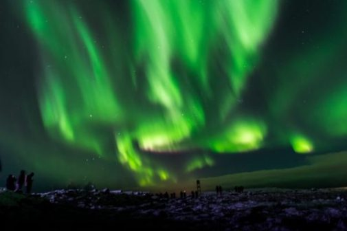 Image Of A Greenish Aurora Borealis Sky.