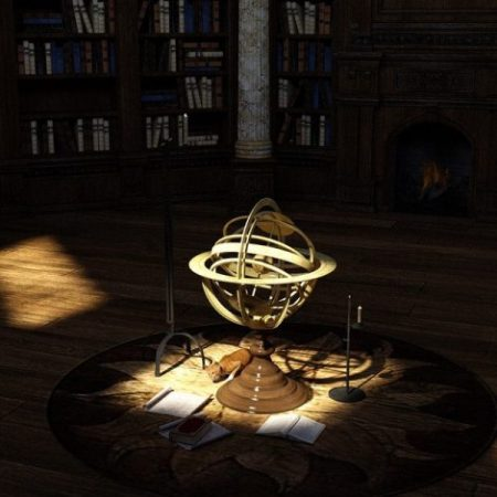 Image Small Spotlight On World Globe Statuette In A Dark Library.