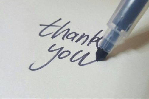 Blue Texta Pen Writing-Thank You.