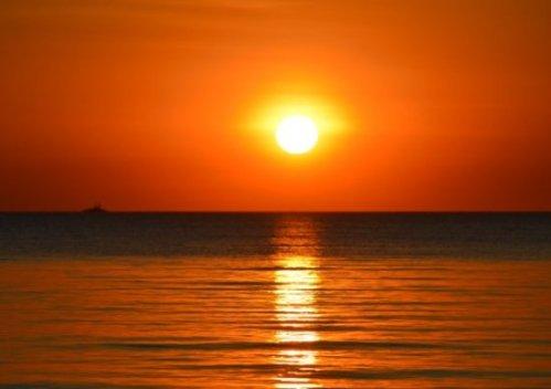 Image Of A Very Orange Beach Sunset.