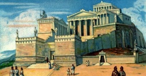 Secondary Topic Image Classical Ancient Greece Landscape, Buildings And People.