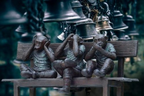 Featured Image Surrounded By Meditation Bells Three Monkey Gods. Hear, See, Speak No Evil, Trio On Bench.