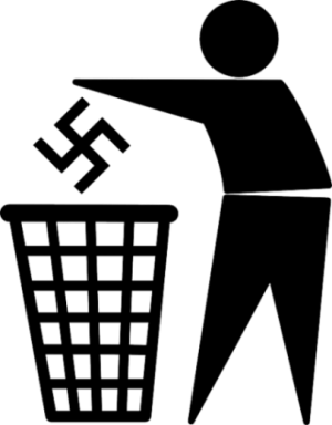 Featured Topic Image Symbolic Man Figure Drops Litter Shaped Swastika Into A Bin.