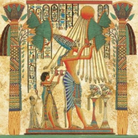 Ancient Egyptian Relief Painting Of A Ritual Scene Of Attendants Venerating The Sun.