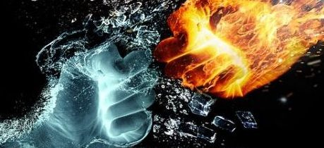 Elemental Theme Image Of Punching Ice Vs Punching Fire.