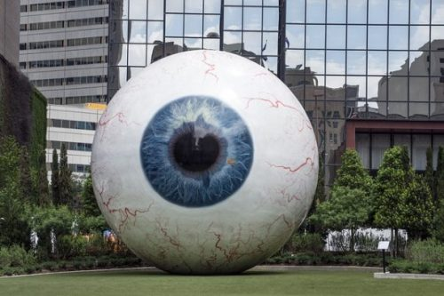 Image Of A Giant Eyeball Model/Statue On Park Grass.