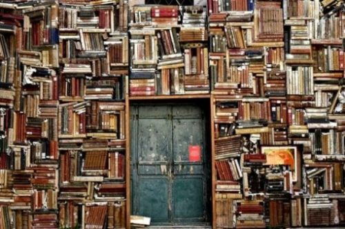 Image Of A Wall Filled With Books And A Door.