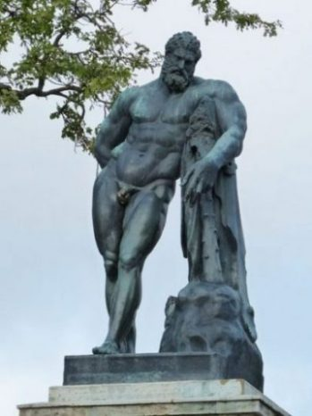 Featured Topic Statue Of Heracles/Hercules Leaning On A Pillar/Rock Holding Club And Cloak.