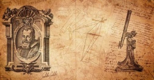Collage Of Galileo, Old Drawings And A Telescope.